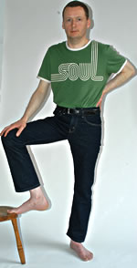 Stewart Home in green 'soul' T-shirt, photo by Chris Dorley-Brown