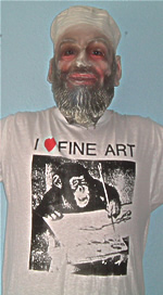 I love fine art T-shirt modelled by man in rubber mask