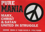 Sticker promoting book Pure Mania by Stewart Home